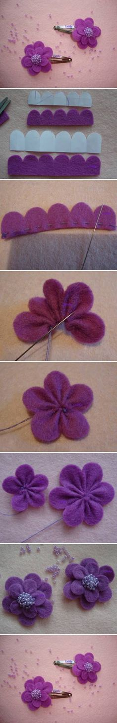 How cute are these felt flower clips!