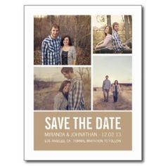 Moderne Foto-Save the Date Postkarten Browns