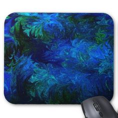 Splashes of Blue and Green Abstract Design Mouse Pad