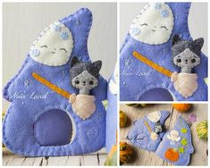 Soft book This PDF sewing pattern is to make a felt book with a tiny cat . This pattern is hand sewn. Felt Books, Quiet Books, Witch Cottage, Bijoux Fil Aluminium, Sensory Book, Tiny Cats, Small Sewing Projects, Halloween Books, Miniature Crafts