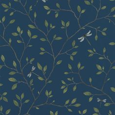 A late-summer day in the Swedish forest, with dragonflies hovering between a lake and delicate greenery, provided the inspiration for this wallpaper. Choose between a sandy colour scheme, natural green or midnight blue.
