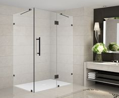 Aston Avalux 35 in. x 32 in. x 72 in. Completely Frameless Shower Enclosure in Oil Rubbed Bronze at The Home Depot - Mobile Square Shower Enclosures, Frameless Shower Enclosures, Frameless Shower Doors, Bathtub Doors, Bathtub Shower, Bath Tub, Pivot Doors, Shower Base, Oil Rubbed Bronze
