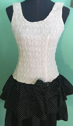 Homemade Junior Small Stretchy Top Tutu Dress Black White Polkadot Bow Cosplay #Handmade
