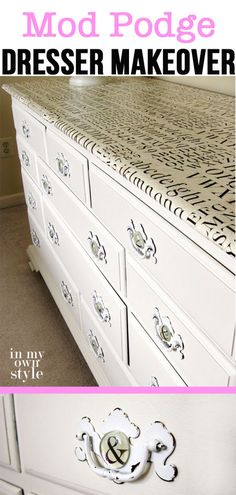 Furniture makeover using decoupage medium and gift wrap.