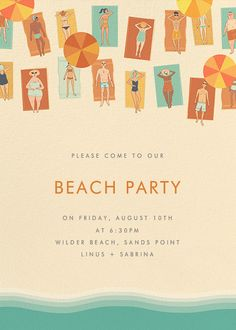 SPF 15 from Paperless Post. A perfect Beach Party invite available in digital or paper. Get your guests ready to show off their pool bods. Beach Party Invitations, Shower Invitations, Poster Layout, Invitation Card Design, Party Poster, Paperless Post, Graphic Design Inspiration, Layout Design, Branding Design