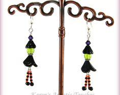 Halloween BOO Witch Earrings Orange Black Surgical Steel Ear Wires
