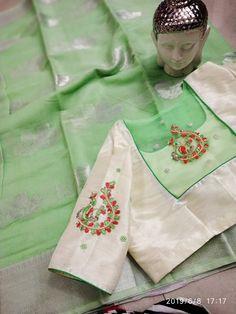 buy kota silk sarees at siri designers 8897195985 Back Design Of Blouse, Patch Work Blouse Designs, Simple Blouse Designs, Stylish Blouse Design, South Indian Blouse Designs, Silk Saree Blouse Designs, Blouse Neck Designs, Boho Clutch, Kurti Embroidery Design