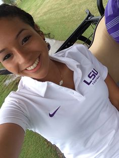 My daughter, who works at the LSU recruiting office, at the les miles golf tournament
