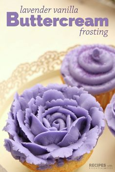 Lavender Vanilla Buttercream Frosting Recipe from http://RecipeswithEssentialOils.com