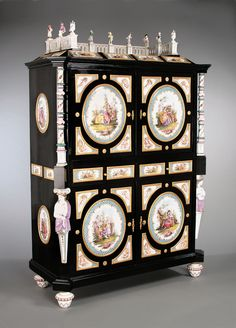Antique Furniture - European Furniture - Meissen Porcelain - Antique Cabinet ~ The stunning German Renaissance Revival cabinet is mounted with ornate Meissen porcelain. Furniture Styles, Cool Furniture, Painted Furniture, Eclectic Furniture, Furniture Design, European Furniture, Antique Furniture, Antique Interior, French Furniture