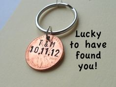 Personalized Couple Keychain, Lucky Penny, Initial on Specific Year with Date, Key Ring for Husband, Wife, Boyfriend, Girlfriend, Found You! Anniversary Gift