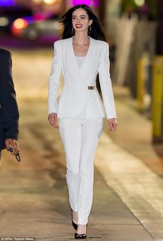A vision in white: Krysten Ritter in Mugler suit as she headed to ABC studios for an appearance on Jimmy Kimmel Live! on November 24, 2015