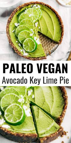 No-bake key lime pie! This vegan key lime pie recipe is made with avocados and will slay the dessert table- even the non-vegans in my life love this recipe! Healthy paleo and raw key lime pie recipe. #vegan #paleo #avocados #recipes #baking #pie