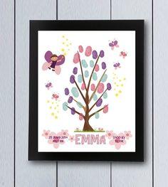 Árbol de huellas de hadas, ideal para nacimientos,cumpleaños infantiles, árbol de familia, decoración infantil, libro de bebé, cuadro para firmas,etc.