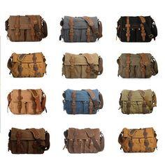 Canvas Leather Messenger Bag Crossbody Bag Shoulder Bag Laptop Bag 2138