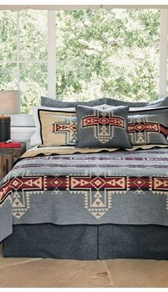 Curl up with premium wool bedspreads & bedding collections from Pendleton. Shop washable wool quilts and more. Southwest Bedroom, Southwest Decor, Southwestern Decorating, Southwest Style, Dream Bedroom, Home Bedroom, Bedroom Decor, Master Bedroom, Bedding Collections