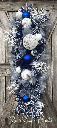 Blue Christmas or any combo would be nice ! Christmas Mesh Wreaths, Christmas Swags, Christmas Door, Winter Christmas, Christmas Holidays, Christmas Crafts, Blue Christmas Decor, Winter Wreaths, Christmas Villages