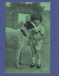BORZOI / GREYHOUND DOG with Child. Old real photo DECO postcard 1920s FRANCE