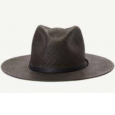Welfleet Black Straw Wide Brim Fedora hat front view