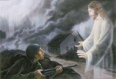 1.  Op de achtergrond kan je de rookwolken zien van de oorlog die hier aan de gang is. Op de voorgrond zie je een soldaat die aan het strijden is, maar plotseling verscheen jezus en zegt gij zult niet doden.  2. De achtergrond wordt vervaagd, er wordt dus gebruik gemaakt van atmosferisch perspectief. Je kan zo zien dat er een hele stad is die in brand staat. Jezus is niet helemaal zichtbaar, je kan door hem heen kijken. Dat betekent dat hij een verschijning is of in de soldaats zijn…