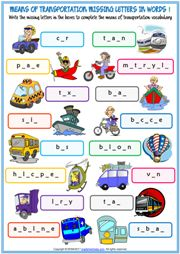 Means of Transportation Missing Letters In Words Exercises