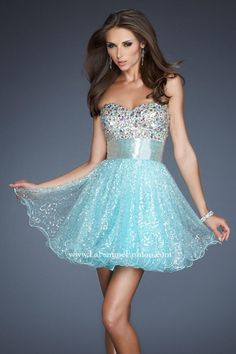 La Femme Sparkly Short Party Dress with Jewel Encrusted Bodice 18902