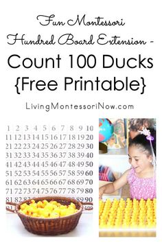 Easy-to-prepare DIY Montessori hundred board extension with counting 100 ducks; fun way to add interest to work on counting to perfect for duckling theme or day of school - Living Montessori Now Montessori Practical Life, Montessori Homeschool, Montessori Classroom, Montessori Toddler, Homeschooling, Fun Math Activities, Preschool Themes, Montessori Activities, Math Sites