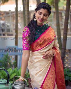 363b6f79fec07 Pair that blouse with plain georgette saree Silk Saree Blouse Designs