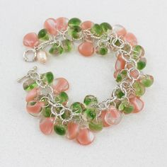 Pink Green OOAK Charm Bracelet Watermelon Color by PearlKissed