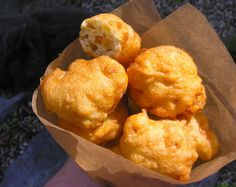 Clam Cakes, my Rhode Island style - sub clams with something else or leave out all together for corn cakes! Shellfish Recipes, Seafood Recipes, Seafood Dishes, Rhode Island Clam Cakes Recipe, Cake Recipes, Snack Recipes, Snacks, Clam Fritters Recipe, Fried Clams