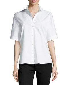 HALSTON HERITAGE Oversized Short-Sleeve Button-Front Blouse, White. #halstonheritage #cloth #