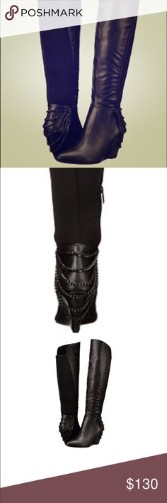 Beautiful over the knee boots Beautiful over the knee boots with a small wedge. Elegant chain detail on the heal. Super comfortable and stylish. Brand new, perfect for fall!! Fergie Shoes Over the Knee Boots