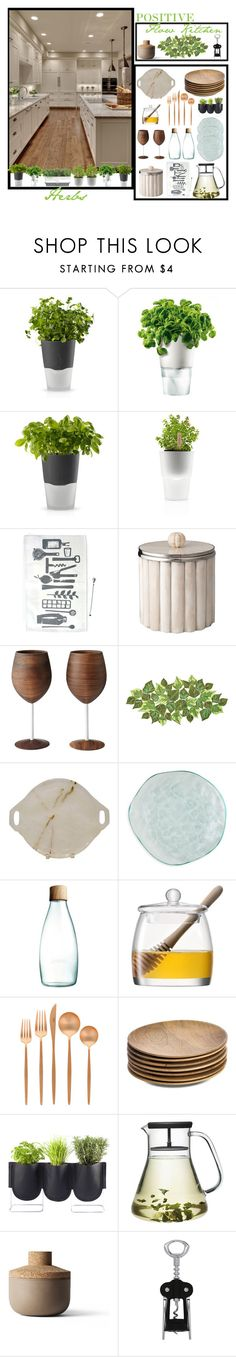 """""""Positive Flow Kitchen"""" by loveartrecyclekardstock ❤ liked on Polyvore featuring interior, interiors, interior design, home, home decor, interior decorating, Eva Solo, Kim Seybert, Annieglass and Retap"""