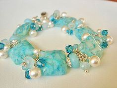 Lampwork Bracelet Charm Bracelet White by KatesArtisanJewelry, $87.00