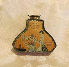 1920s Richard Hudnut Three Flowers Powder Tin Rare Vintage Tin Full Unused