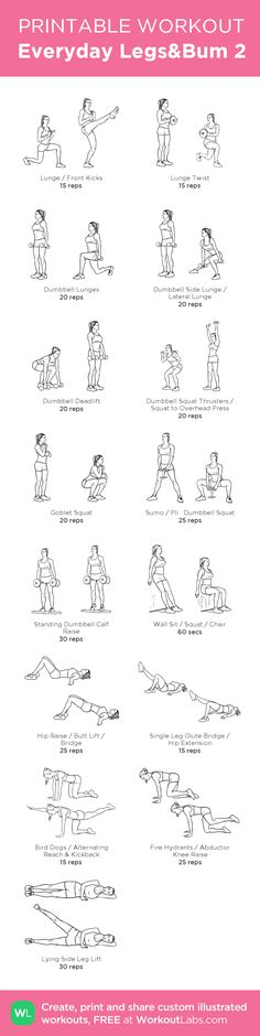 """Fitness Motivation : Illustration Description Everyday Legs&Bum 17 feb 15 """"Nothing will work unless you do"""" ! -Read More – Hitt Workout, Gym Workouts, At Home Workouts, Free Workout, Body Inspiration, Fitness Inspiration, Pilates, Mental Training, Printable Workouts"""