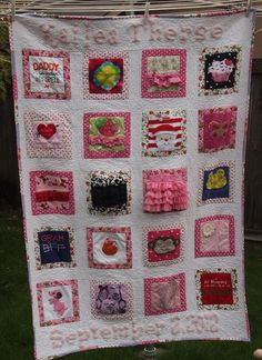 a very cute Memory quilt featuring baby clothes saved and unified with pinks in the frames! xxxxxxxxxx
