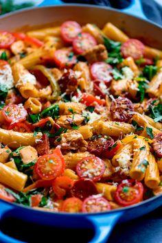 An easy one pot pasta meal with a spicy Cajun kick. This creamy chicken Cajun pasta comes together in 35 minutes! Cajun Chicken Pasta, Chicken Pasta Recipes, Easy Pasta Recipes, Cooking Recipes, Pasta Meals, Creamy Chicken, Chorizo Recipes, Tasty Vegetarian Recipes, Healthy Recipes
