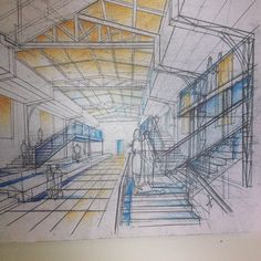 One-point perspective is your best option for representing interior spaces. One Point Perspective, Perspective Drawing, Daily Drawing, Drawing Tips, Architecture Design, Louvre, Construction, Spaces, Drawings