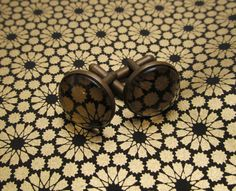 Cabochon Cufflinks - Bold Black and Gold Pattern - Japanese Washi Paper - Contrast - Wedding Jewellery - pinned by pin4etsy.com