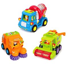 Push and Go Friction Powered Car Toys for Toddlers,Street Sweeper Truck,Cement Mixer Truck,Harvester Toy Truck Set of 3 (Cars Have Automatic Functions). For price & product info go to: https://all4babies.co.business/push-and-go-friction-powered-car-toys-for-toddlersstreet-sweeper-truckcement-mixer-truckharvester-toy-truck-set-of-3-cars-have-automatic-functions/