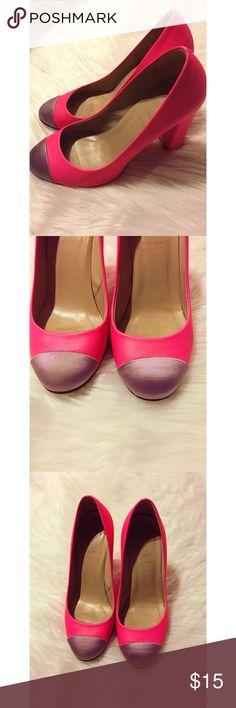 J. Crew Etta Pumps J. Crew Etta neon pink pumps with light purple satin cap toe. 3-3/4 inch heel with 1/4 inch platform. Some wear to heel but still in good condition! J. Crew Shoes Heels