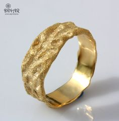 Rustic Gold wedding band 18k solid gold men band by DINARjewelry