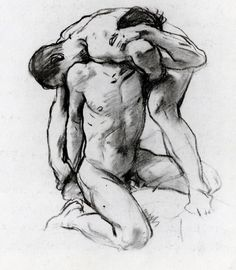 Male Nudes Wrestling - John Singer Sargent