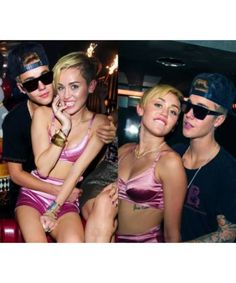 Miley Cyrus and Justin Bieber at the Bangerz party