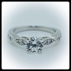 Moissanite Engagement Ring Diamond Side Stones 14k Gold - Ring Name: Twisted Love. $1,125.00, via Etsy.