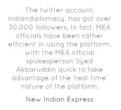 Indian Diplomacy going strong on twitter  & facebook