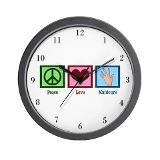 Peace Love Massage Wall Clock by Quotable-TV-Shop - CafePress Love Massage, Tv Shopping, Wall Clock Design, Ice Skating, Hunger Games, Peace And Love, Decorating Your Home, Volleyball Players, Beauty Ideas