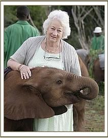 World-famous Dame Daphne Sheldrick in her facility for orphaned elephants