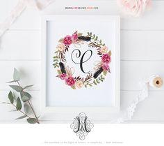 Instant Wall Art: Watercolor Floral Wreath Monogram Design